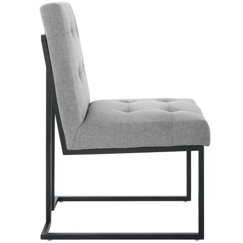 Privy Black Stainless Steel Upholstered Fabric Dining Chair in Black Light Gray