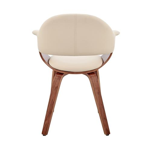Armen Living - Adalyn Cream Faux Leather and Walnut Wood Dining Room Accent Chair