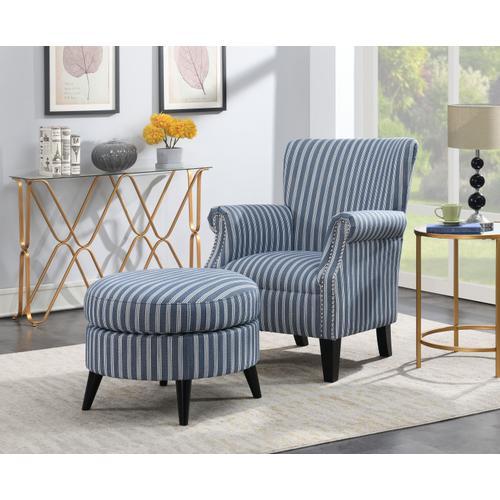 Oscar Chair & Ottoman Set, Blue Stripe U3538-05-03-14-2pc-k