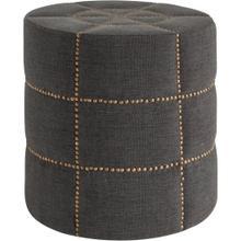 "See Details - Beacon II 20.5""H Gray Fabric w/Metal Tacks Round Ottoman"
