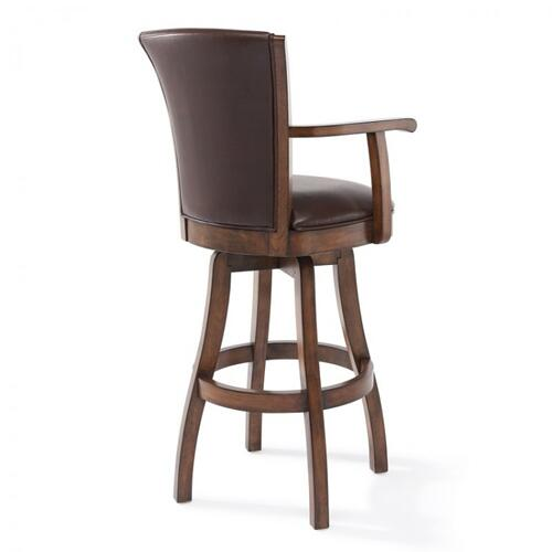 "Armen Living Raleigh Arm 26"" Counter Height Swivel Wood Barstool in Chestnut Finish and Kahlua Faux Leather"