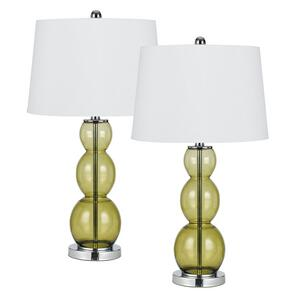 150W 3 WAY COLORED GLASS TABLE LAMP. SOLD AS PAIRS