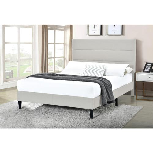 Accentrics Home - Horizontally Channeled Full Upholstered Platform Bed in Light Gray