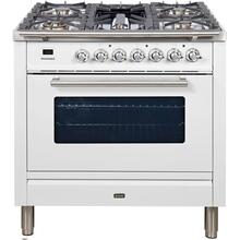 See Details - Professional Plus 36 Inch Dual Fuel Natural Gas Freestanding Range in White with Chrome Trim