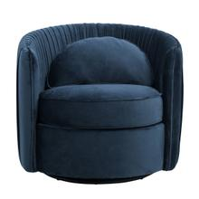 Pleated Velvet Swivel Accent Chair in Navy Blue