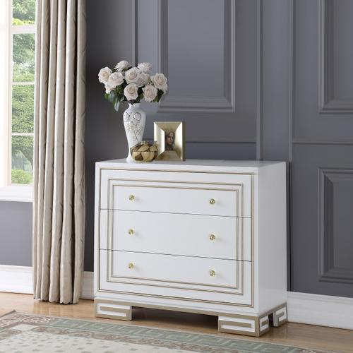 Modern Style White with Champagne Gold Overlay Accent Drawer Chest