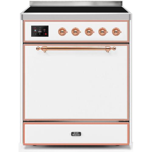 Ilve - Majestic II 30 Inch Electric Freestanding Range in White with Copper Trim
