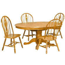 DLU-TBX4866-124S-LO5PC  5 Piece Pedestal Butterfly Leaf Dining Set  Keyhole Chairs