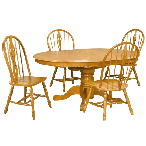 Pedestal Butterfly Leaf Dining Set w/ Keyhole Chairs (5 Piece)