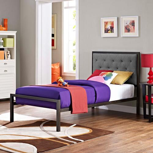 Modway - Mia Twin Fabric Bed in Brown Gray