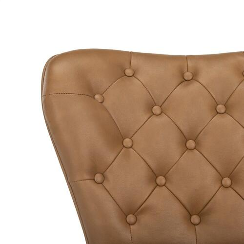 "Aster 30"" H Mid Century Modern Leather Tufted Bar Stool - Camel / Black"