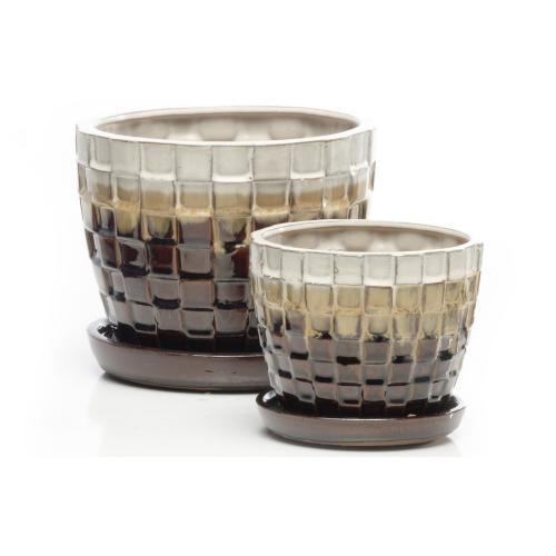 Weavers P.Pots w/attchd saucer Syrup S/2 4set/ctn