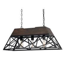 60W X 3 Antonio Wood Chandelier (Edison Bulbs Not Included)