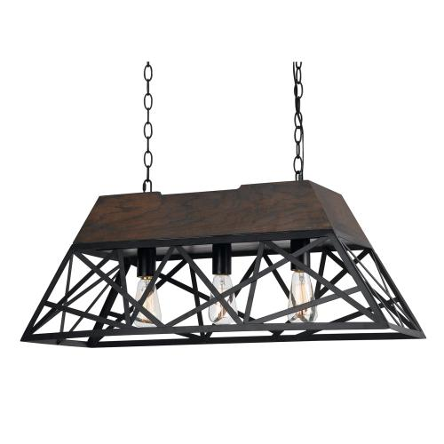 60W X 3 Antonio Wood Chandelier (Edison Bulbs Not Included)