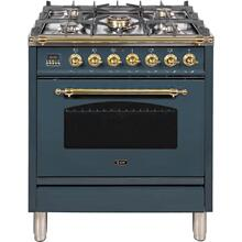 See Details - Nostalgie 30 Inch Dual Fuel Liquid Propane Freestanding Range in Blue Grey with Brass Trim