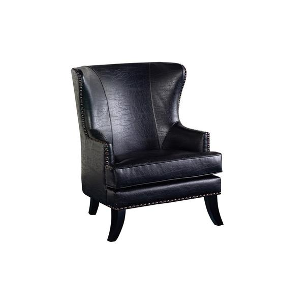 See Details - Grant Black Leather-Look Accent Chair, ACL560