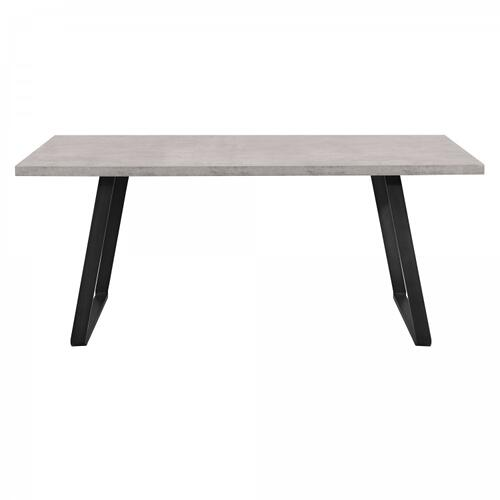 Armen Living Coronado Contemporary Dining Table in Grey Powder Coated Finish with Cement Gray Top