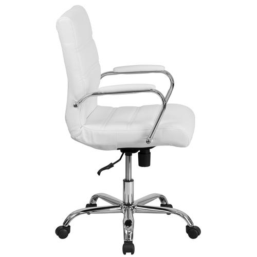 Gallery - Mid-Back Gold LeatherSoft Executive Swivel Office Chair with Chrome Frame and Arms