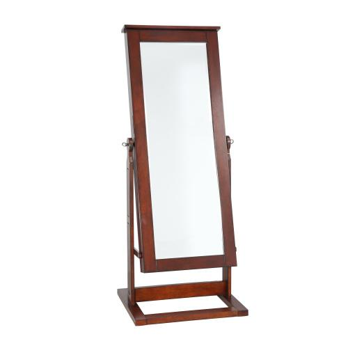 Cheval Jewelry Wardrobe With Large Mirror Front, Walnut