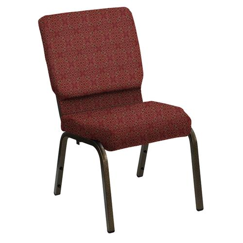 Flash Furniture - HERCULES Series 18.5''W Church Chair in Faith Cranberry Fabric - Gold Vein Frame