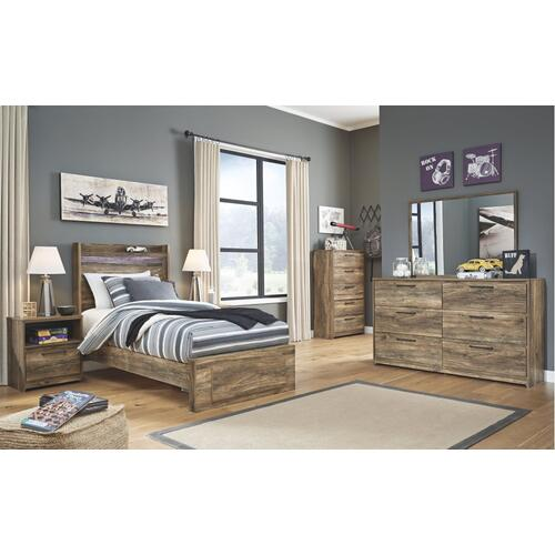 Twin Panel Bed With 1 Storage Drawer With Mirrored Dresser, Chest and 2 Nightstands