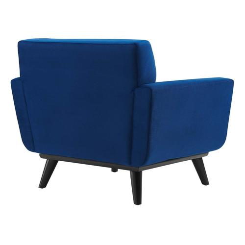 Modway - Engage Channel Tufted Performance Velvet Armchair in Navy