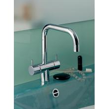 Two-handle mixer with 1/4 turn ceramic disc technology, double swivel spout with M22 aerator - Grey