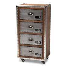 See Details - Baxton Studio Avere French Industrial Brown Wood and Silver Metal 4-Drawer Rolling Accent Storage Cabinet