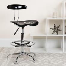 View Product - Vibrant Black and Chrome Drafting Stool with Tractor Seat