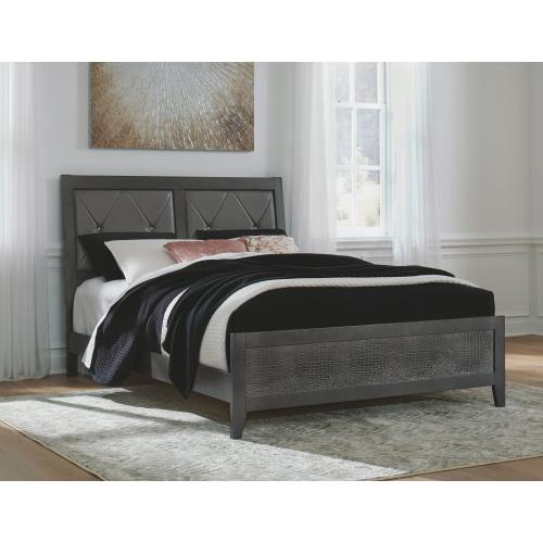 Queen Upholstered Panel Bed With Dresser