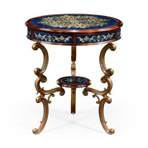 Lapis blue eglomise with mahogany and brass side table