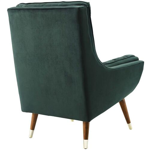 Suggest Button Tufted Performance Velvet Lounge Chair in Green