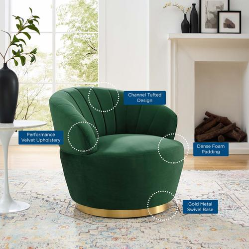 Billow Tufted Performance Velvet Swivel Chair in Emerald