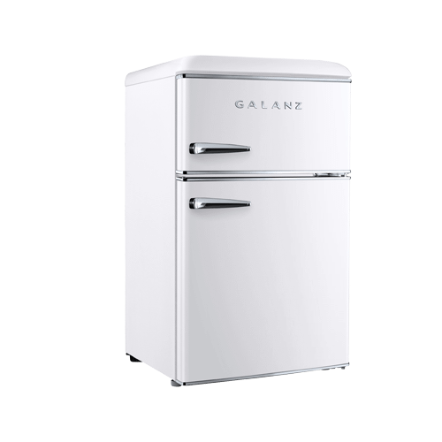 Galanz 3.1 Cu Ft Retro Dual Door Refrigerator in Milkshake White