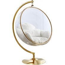 """See Details - Luna Acrylic Swing Bubble Faux Fur Accent Chair - 41.5"""" W x 29.5"""" D x 64"""" H"""