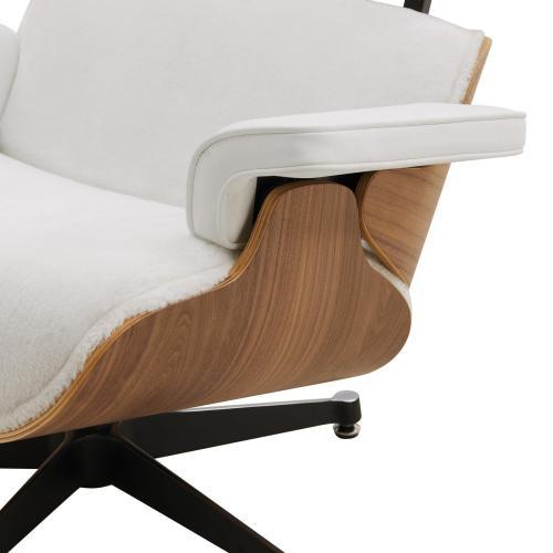 Grayson Faux Fur Lounge Arm Chair and Ottoman Dark Walnut Frame, Twizel Faux Fur