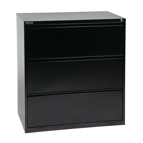"""36"""" Wide 3 Drawer Lateral File With Core-removeable Lock & Adjustable Glides"""