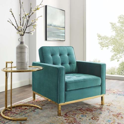 Loft Gold Stainless Steel Performance Velvet Armchair in Gold Teal