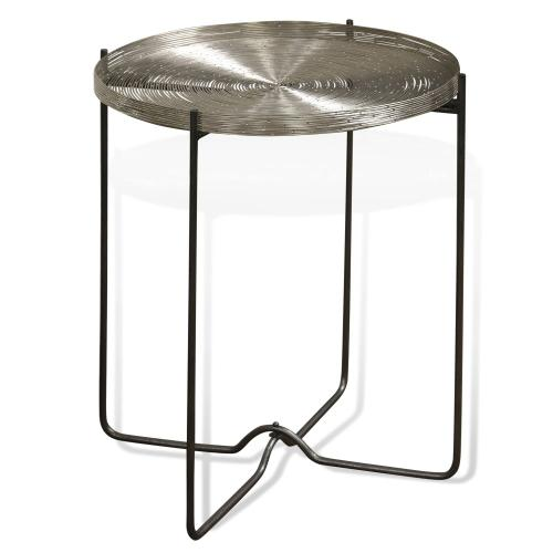 AXEL SIDE TABLE  19in w. X 22in ht. X 19in d.  Metal Round Side Table with Nickel Plated Stainless