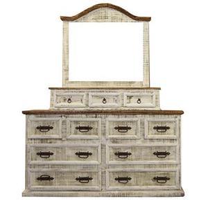 "L.M.T. Rustic and Western Imports - Dresser : 65.5"" x 20"" x 36"" White Wash Dresser"