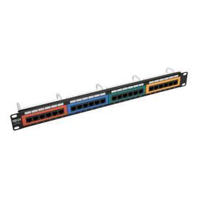 24-Port 1U Rack-Mount 110-Type Color-Coded Patch Panel, RJ45 Ethernet, 568B, Cat6