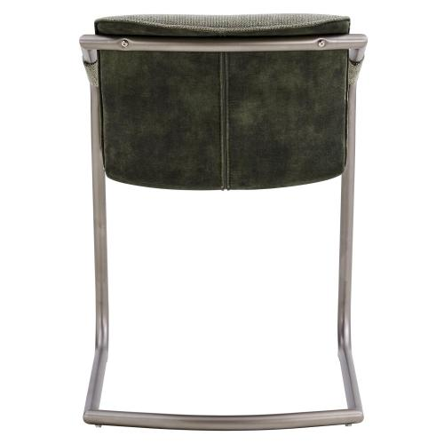 Indy Fabric Dining Side Chair Silver Frame, Sage Green/Velvet Green
