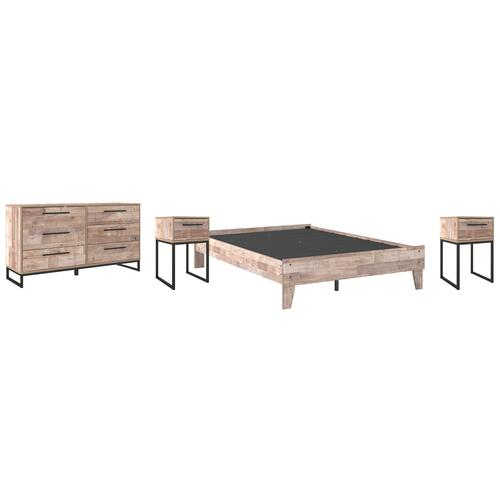 Full Platform Bed With Dresser and 2 Nightstands