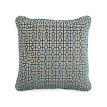Toss Pillow with a Blue Geometric Print Pattern