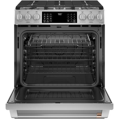 """Café 30"""" Slide-In Front Control Dual-Fuel Convection Range with Warming Drawer Stainless Steel"""