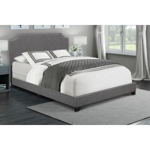 Clipped Corner Upholstered King Bed in Dark Grey