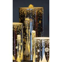 """8"""" Silver Snowfall LED Bubbler Candle w/ remote"""