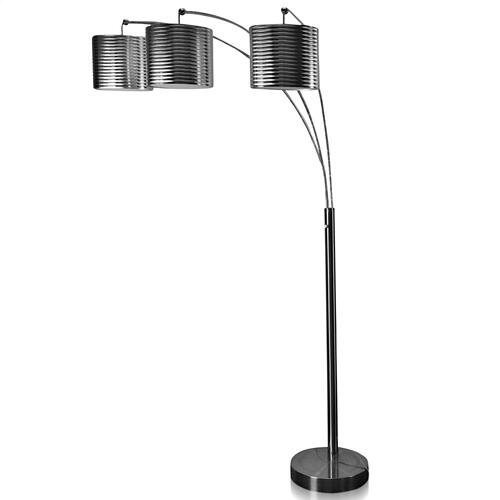 Style Craft - BRUSHED STEEL  75ht  Modern Metal Arch Three Head with Adjustable Position Arms Floor Lamp  60 Wa