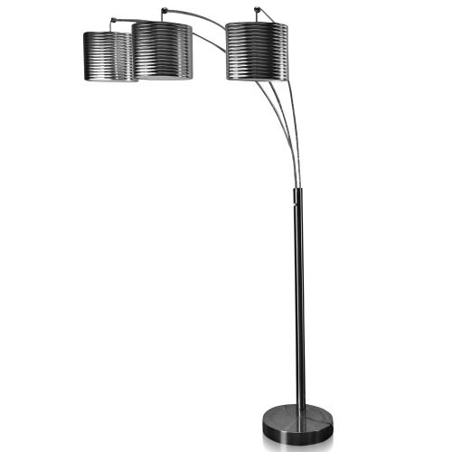 BRUSHED STEEL  75ht  Modern Metal Arch Three Head with Adjustable Position Arms Floor Lamp  60 Wa