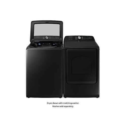 Samsung - 7.4 cu. ft. Gas Dryer with Steam Sanitize+ in Black Stainless Steel